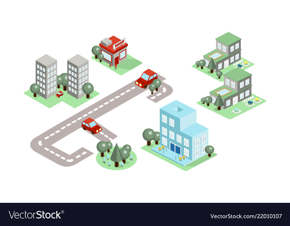 Set of isometric city elements buildings