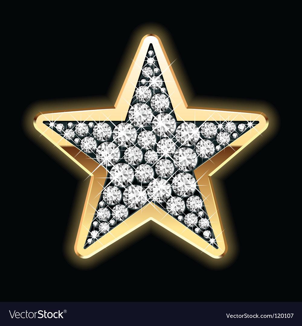 Star shape in diamonds vector image