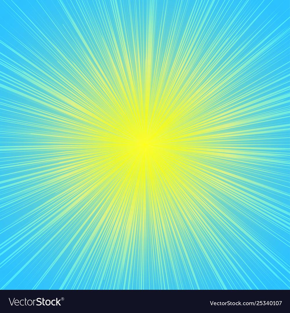 Sun burst blast background yellow on blue
