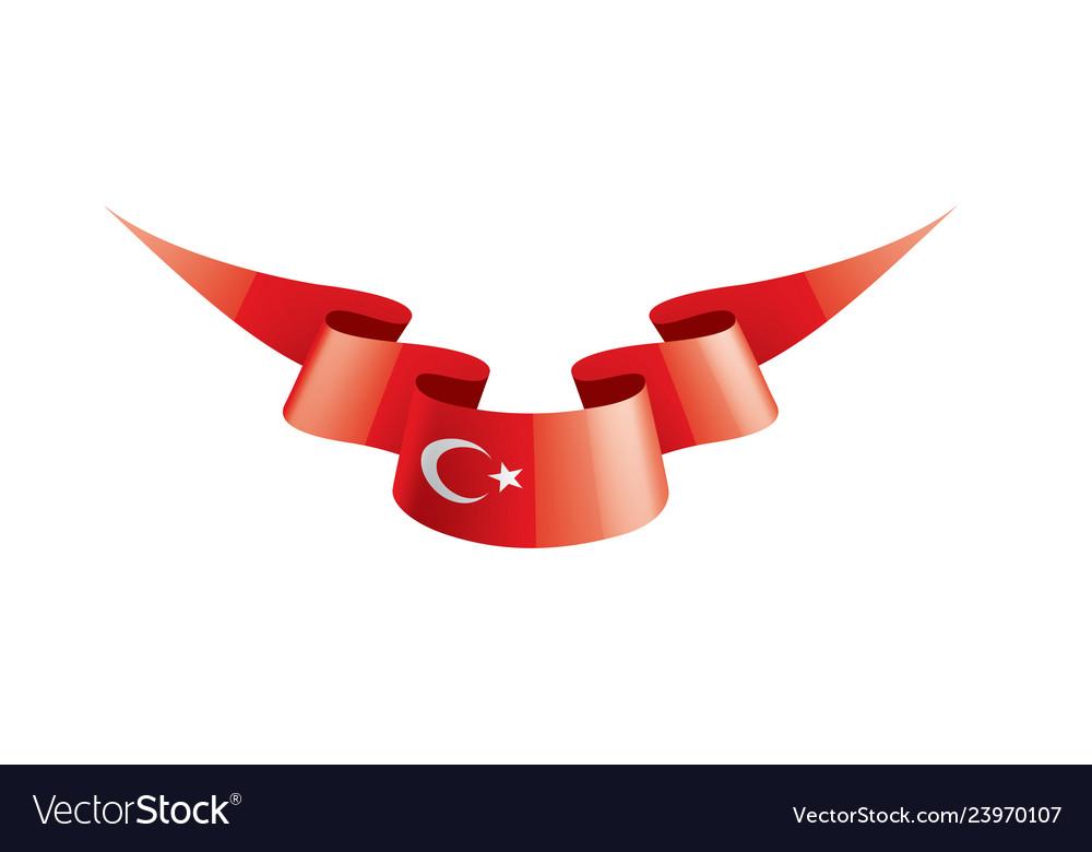 Turkey flag on a white