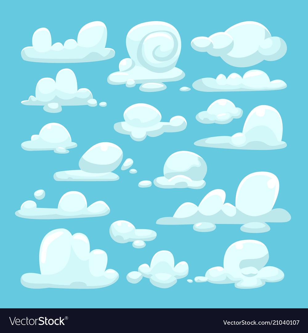 White clouds cartoon set