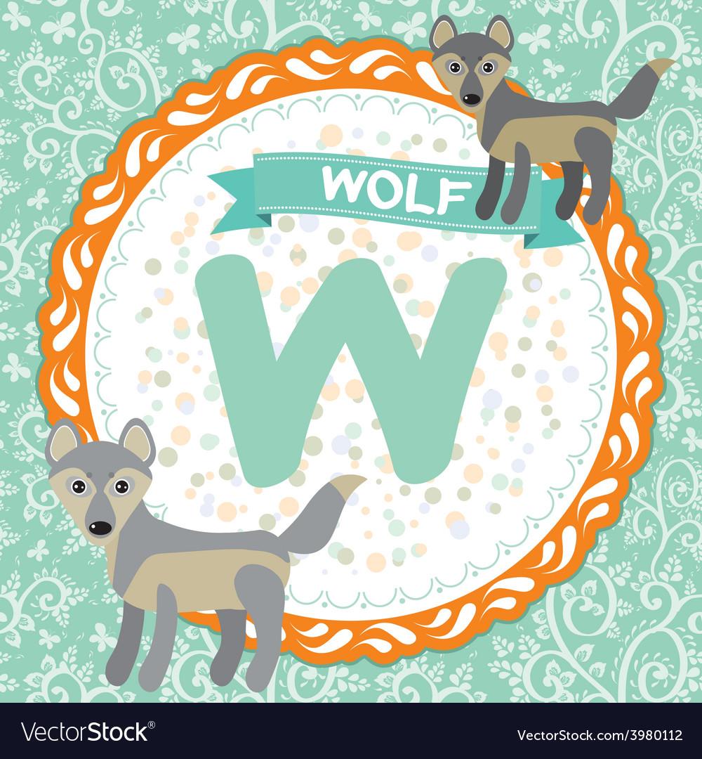 ABC animals W is wolf Childrens english alphabet