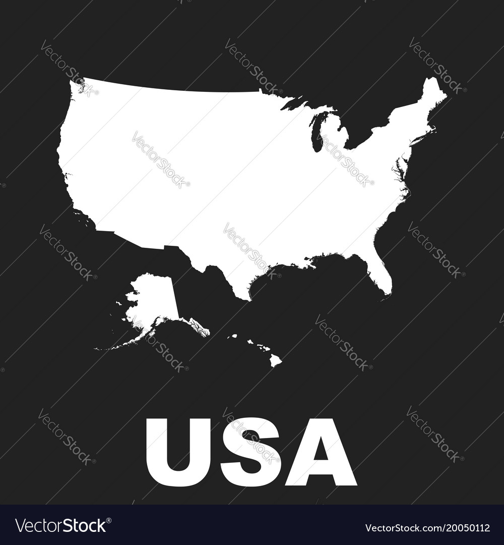 America map icon flat usa sign symbol on black