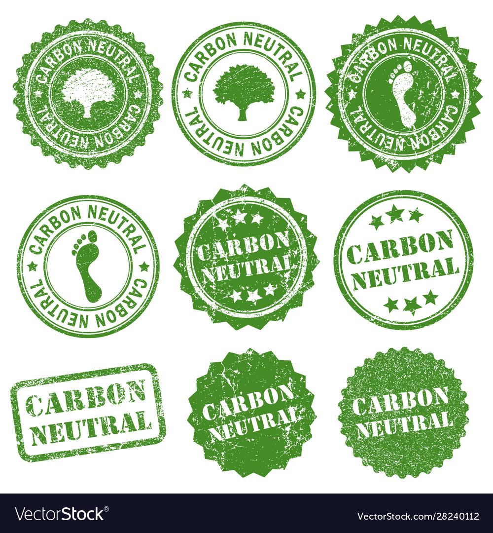 Carbon neutral co2 rubber ink grunge stamp