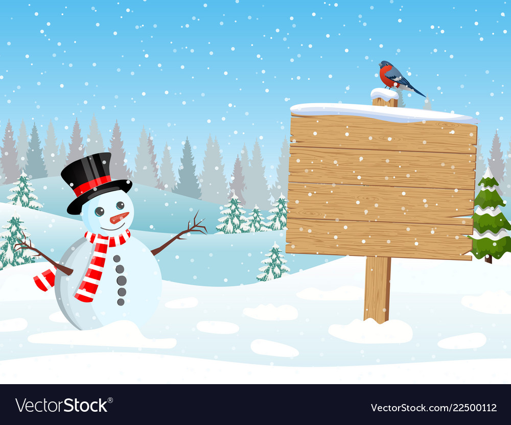 Christmas snowman with wooden sign and pine trees