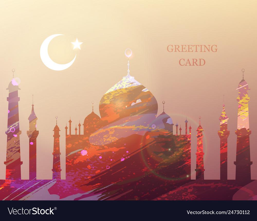 Eid al-fitr greeting card watercolor mosque