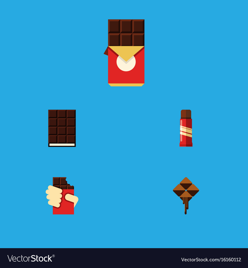 Flat icon cacao set of chocolate bar dessert vector image