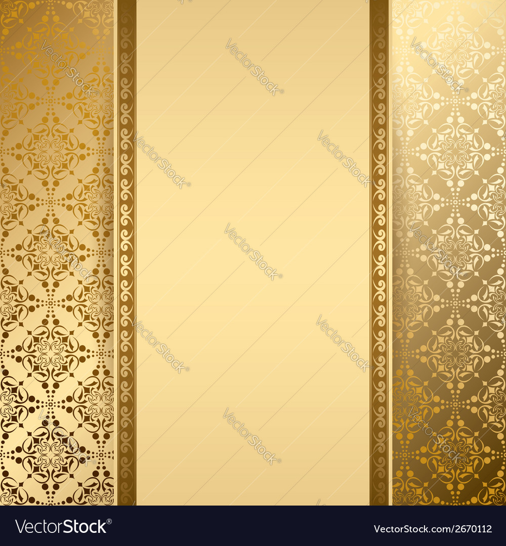Gold Background With Vintage Pattern Vector Image