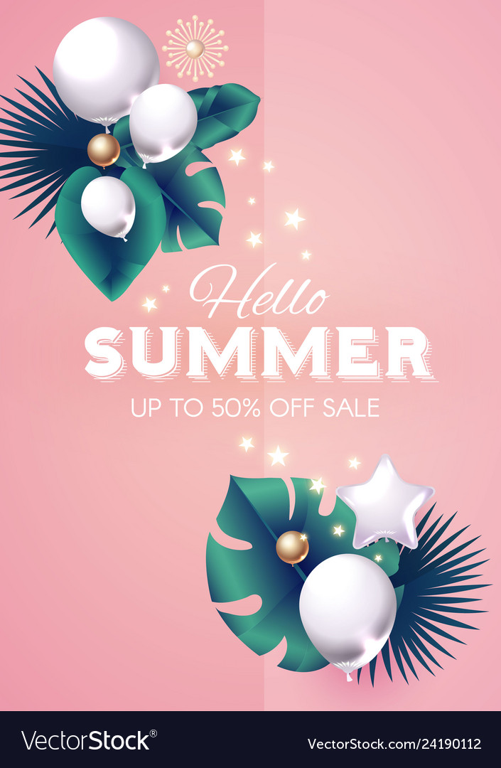 Hello summer design template with palm leaves