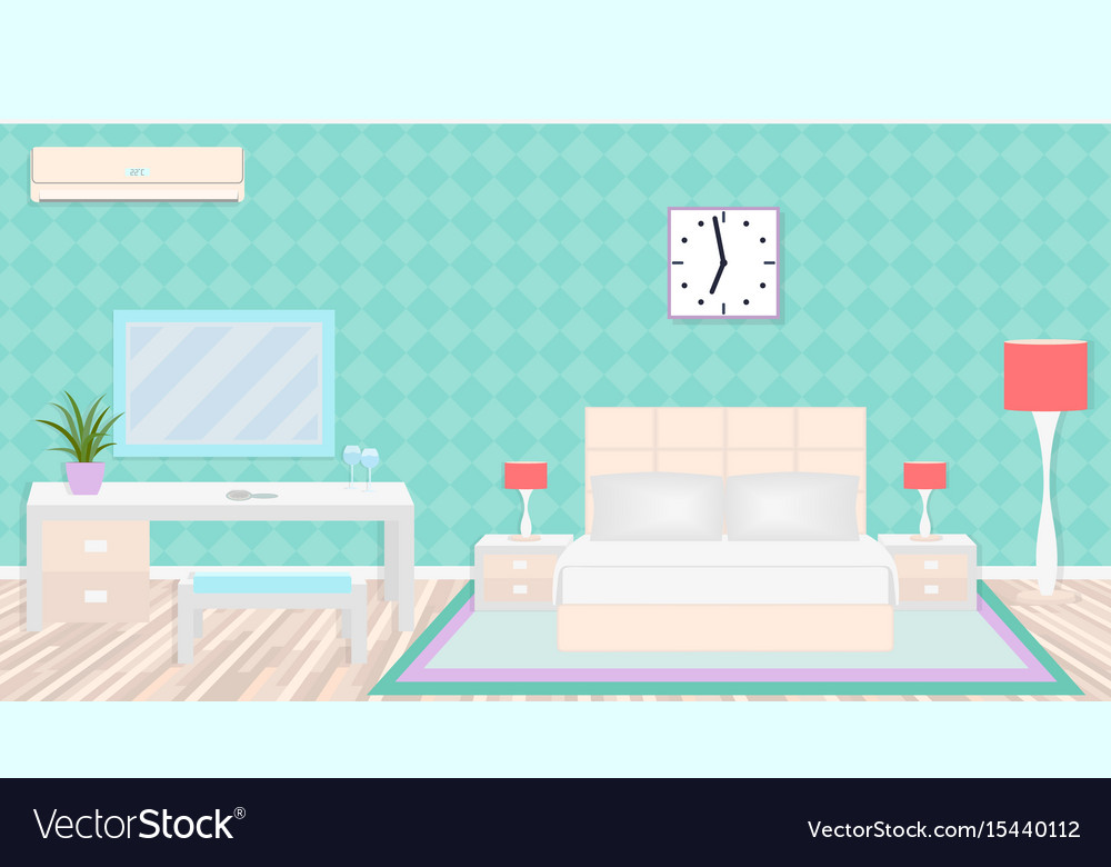 Luxury bedroom interior with furniture light vector image