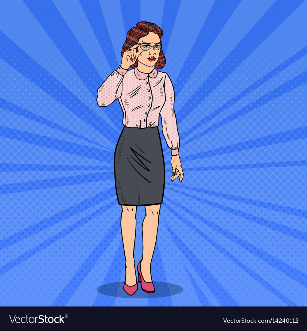 Pop art confused business woman