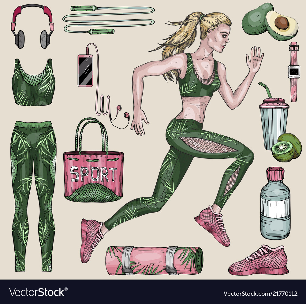 Running woman and sports equipment set