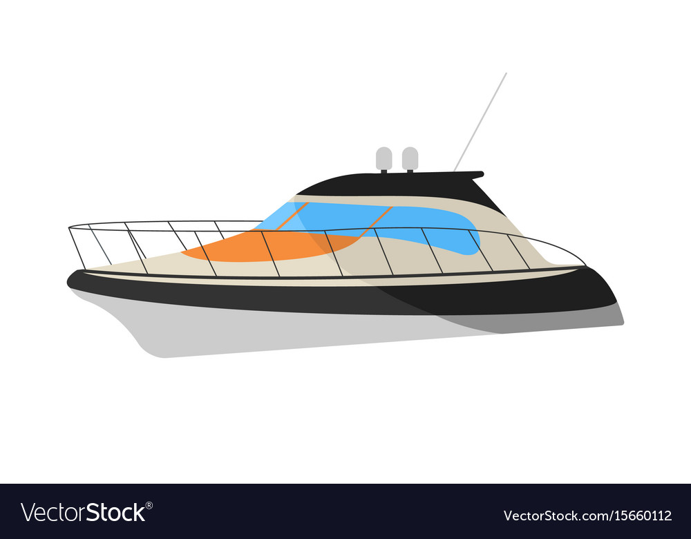 Speedboat flat icon and sign