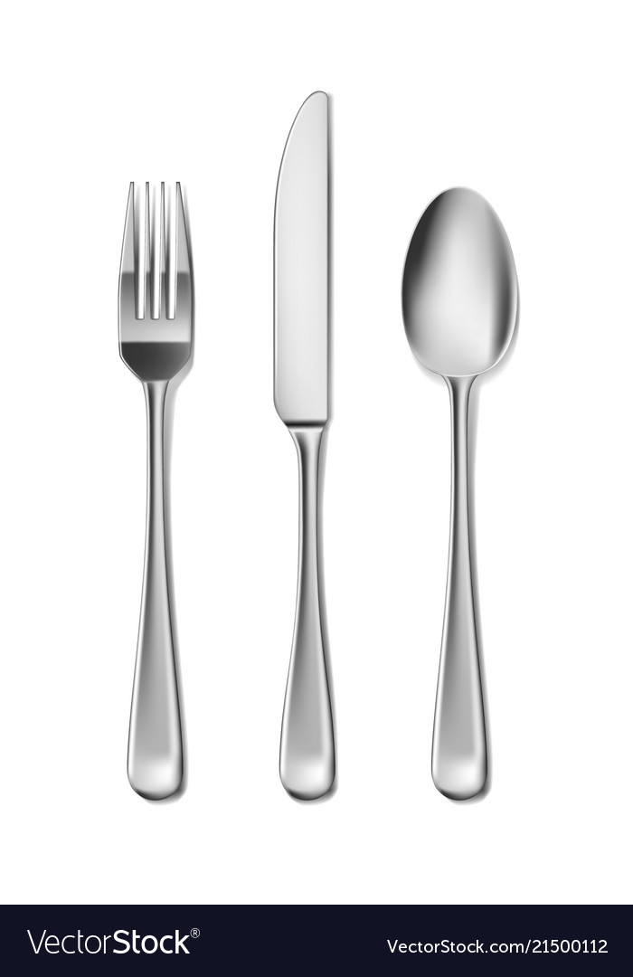 Steel cutlery knife fork and spoon in realistic