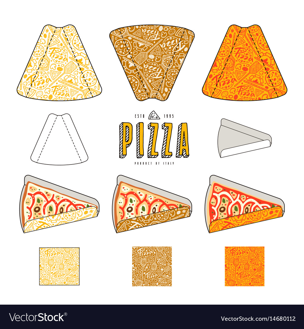 Stock design of package for pizza slices