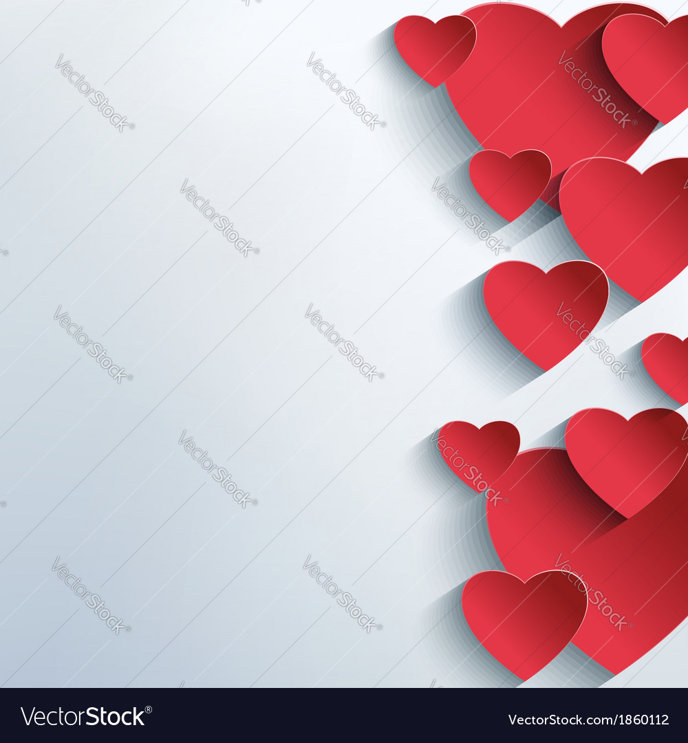Stylish abstract background with 3d red hearts