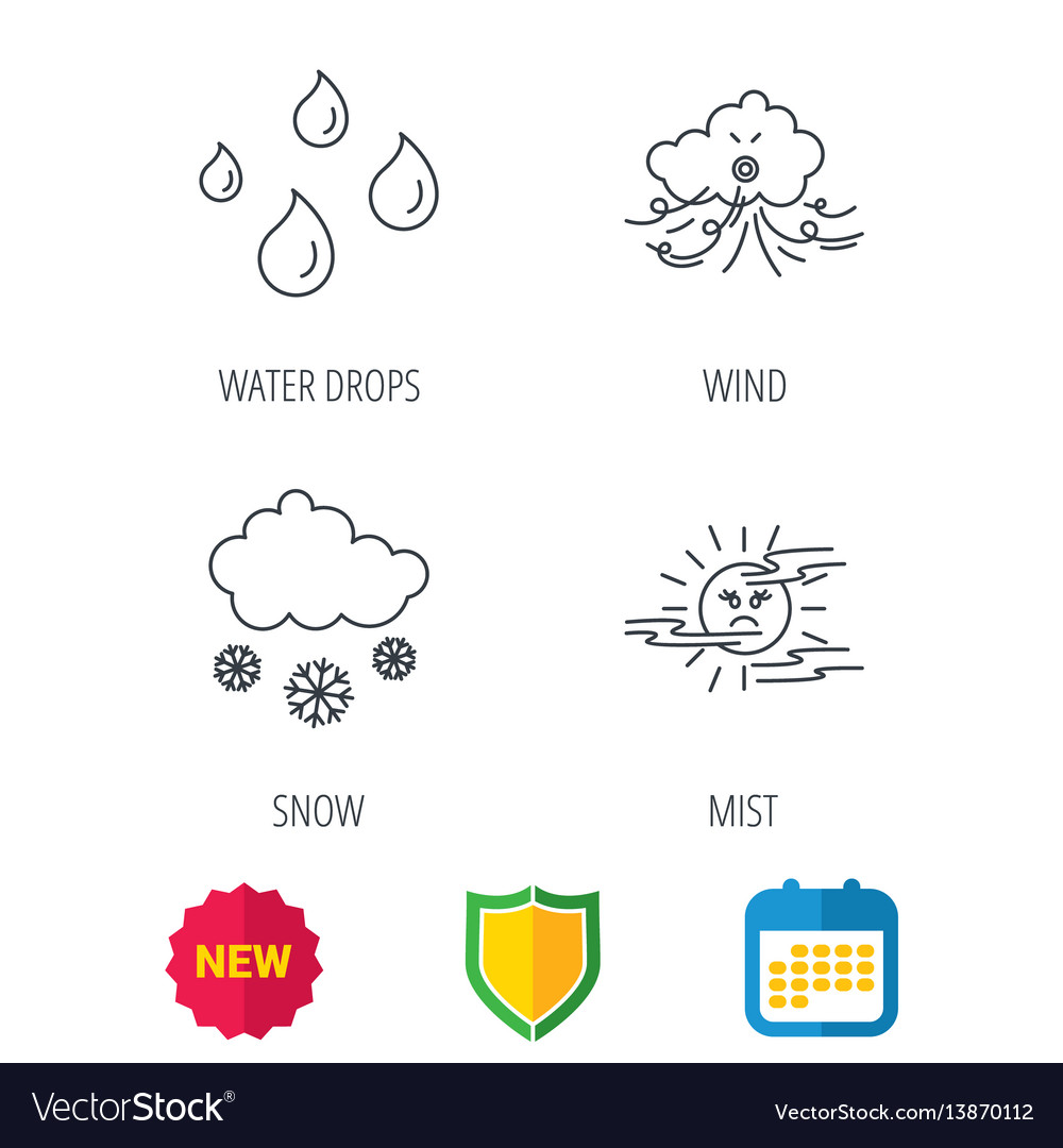 Weather Snow And Rain Icons Moon Night Royalty Free Vector