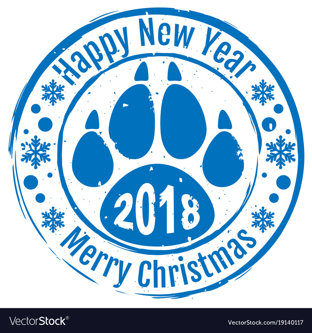 2018 happy new year and merry christmas stamp dog