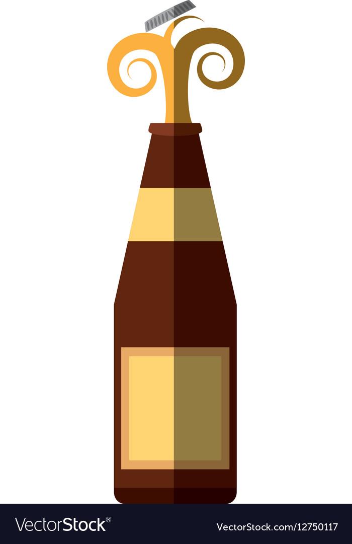 Alcohol bottle pouring liquid beverage cap splash vector image