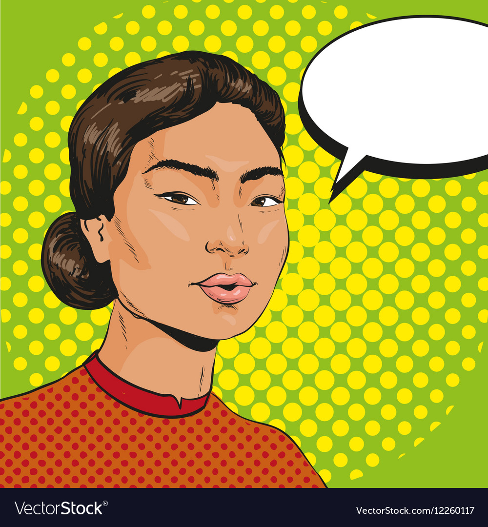 Asian woman in retro pop vector image