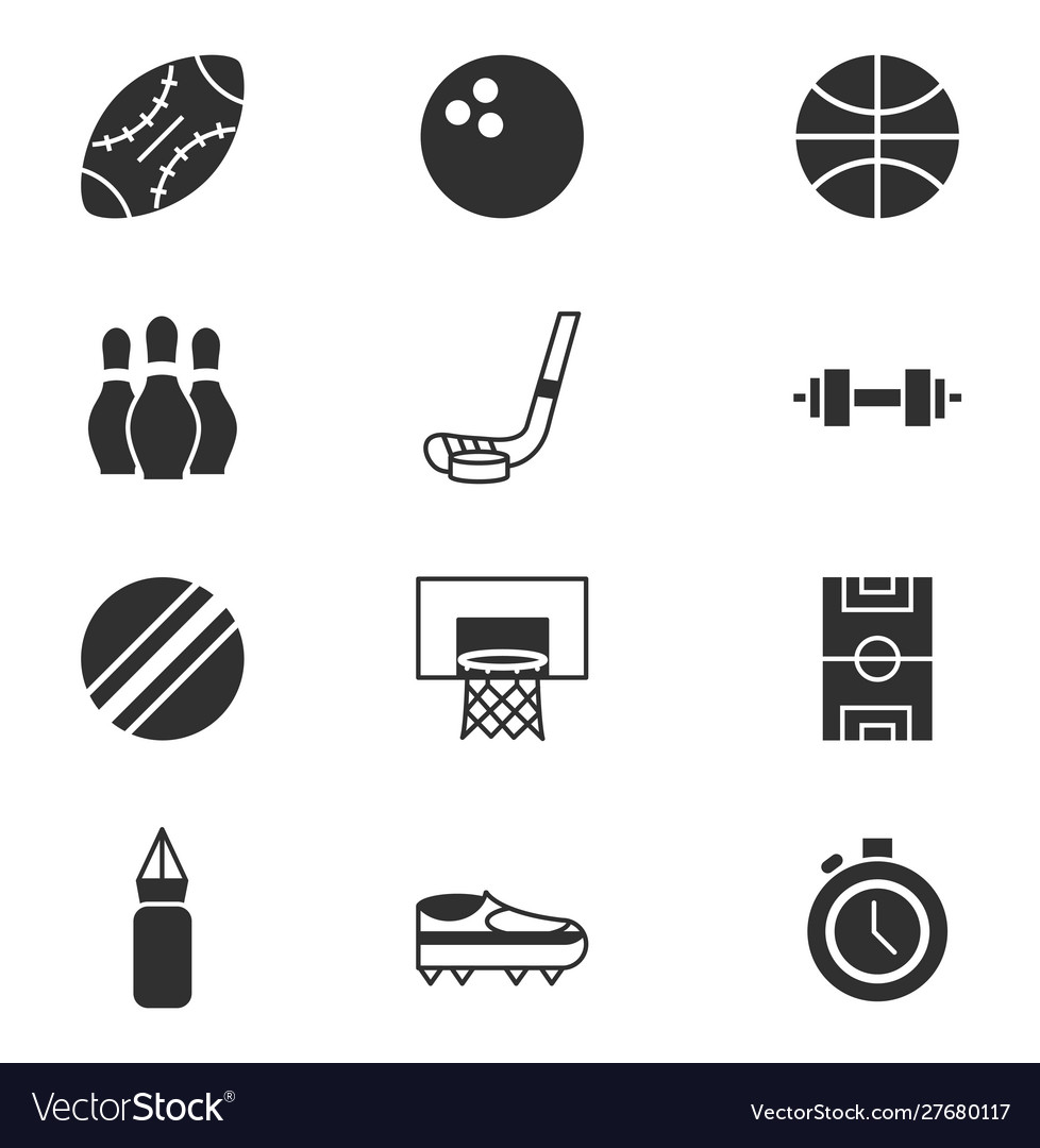 Pictograph sport equipment related icons set