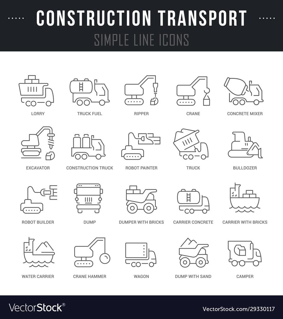 Set line icons construction transport