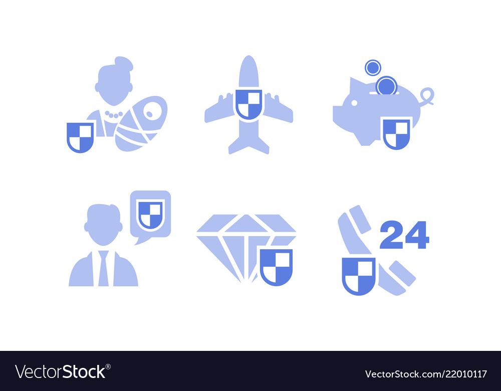 Set of insurance service icons deposit family