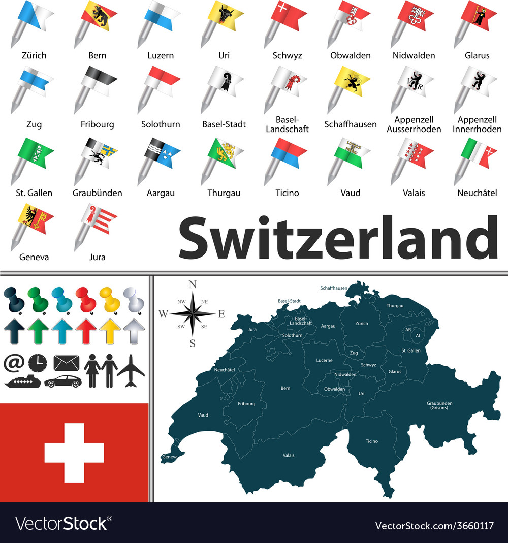 Switzerland map with flags
