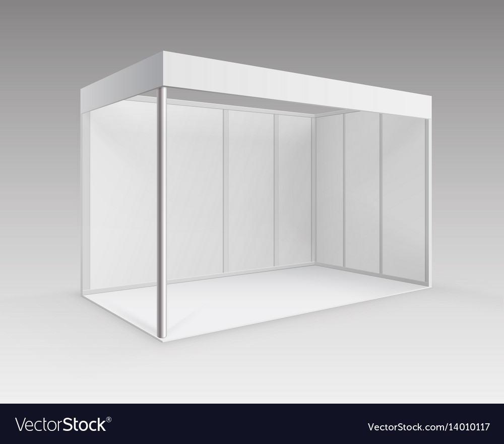 Exhibition Stand White : White blank indoor trade exhibition booth stand vector image