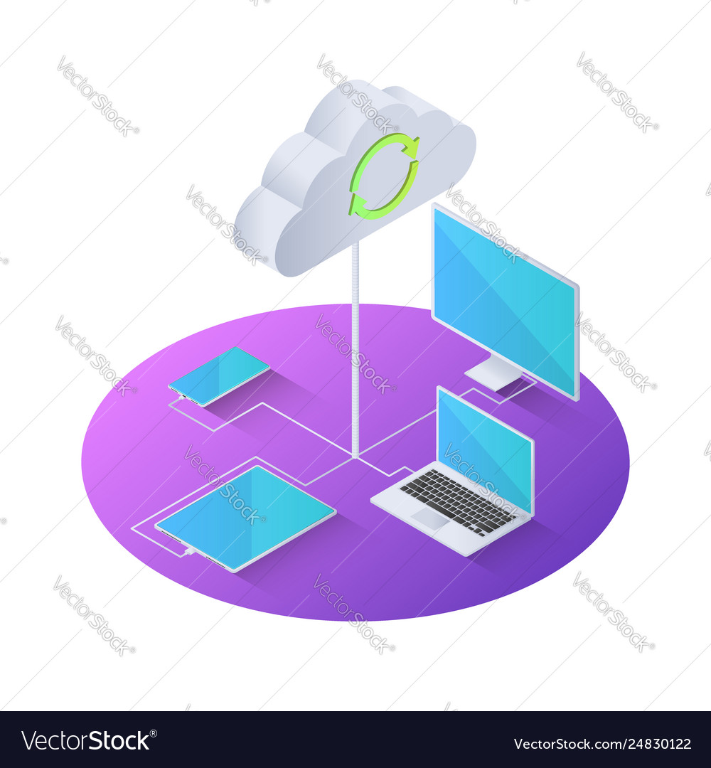3d isometric electronics device connected to