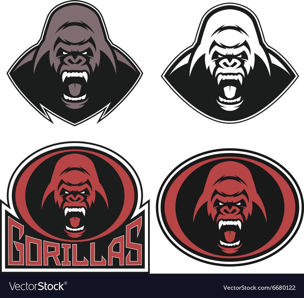 Angry gorilla symbol vector image