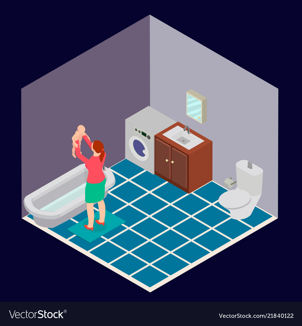 Bathroom is isometric with a woman and a child