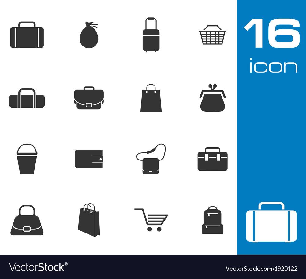 Black bag icons set on white background