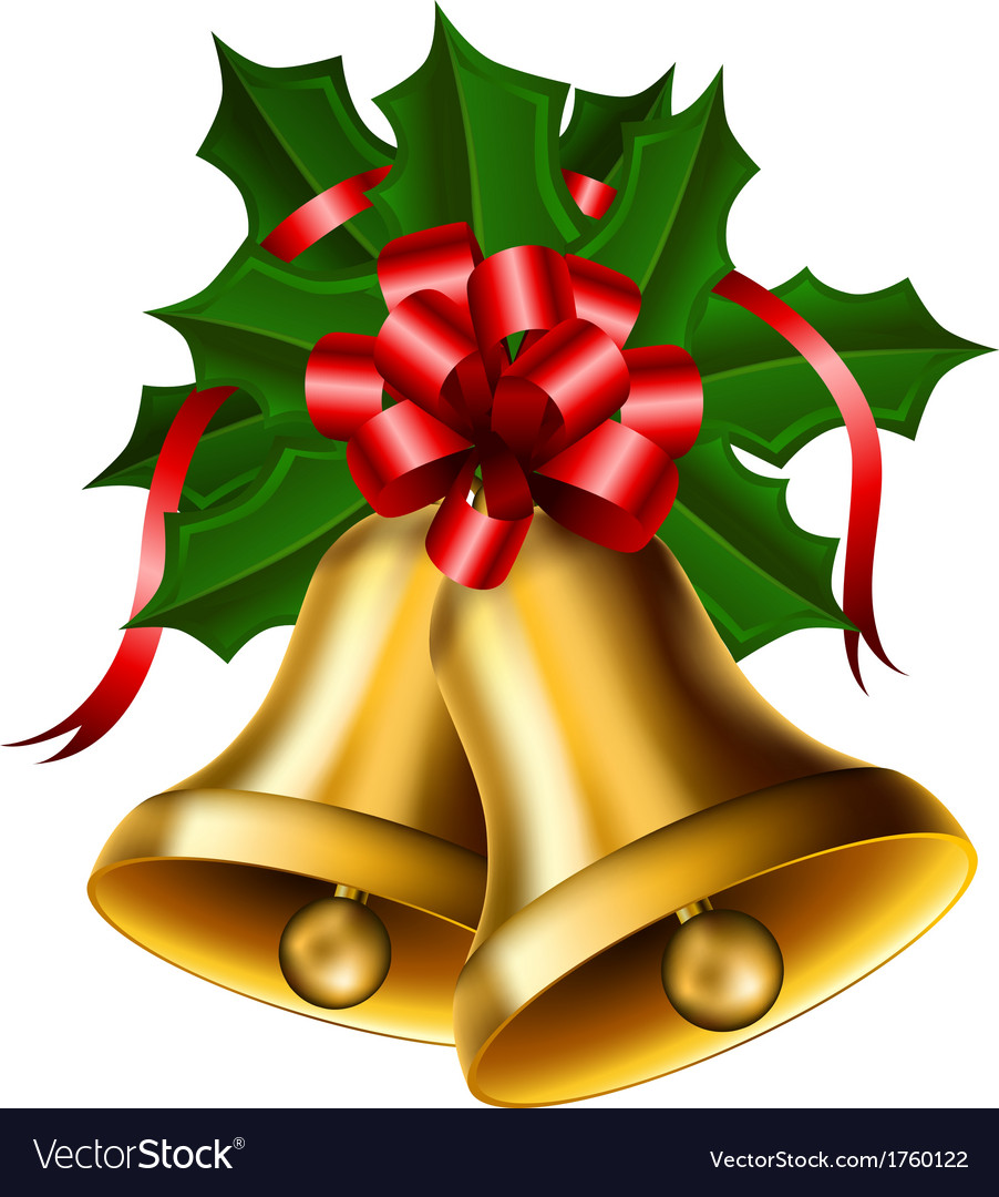 Christmas Bells With Red Bow Royalty Free Vector Image