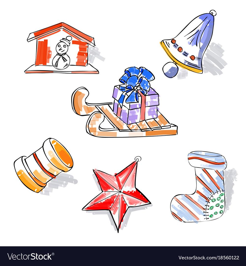 Christmas retro sketch doodles elements sled star
