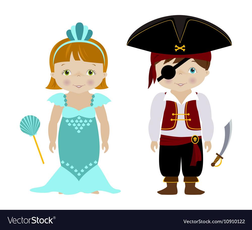 Cute kids in halloween costumes cartoon Royalty Free Vector