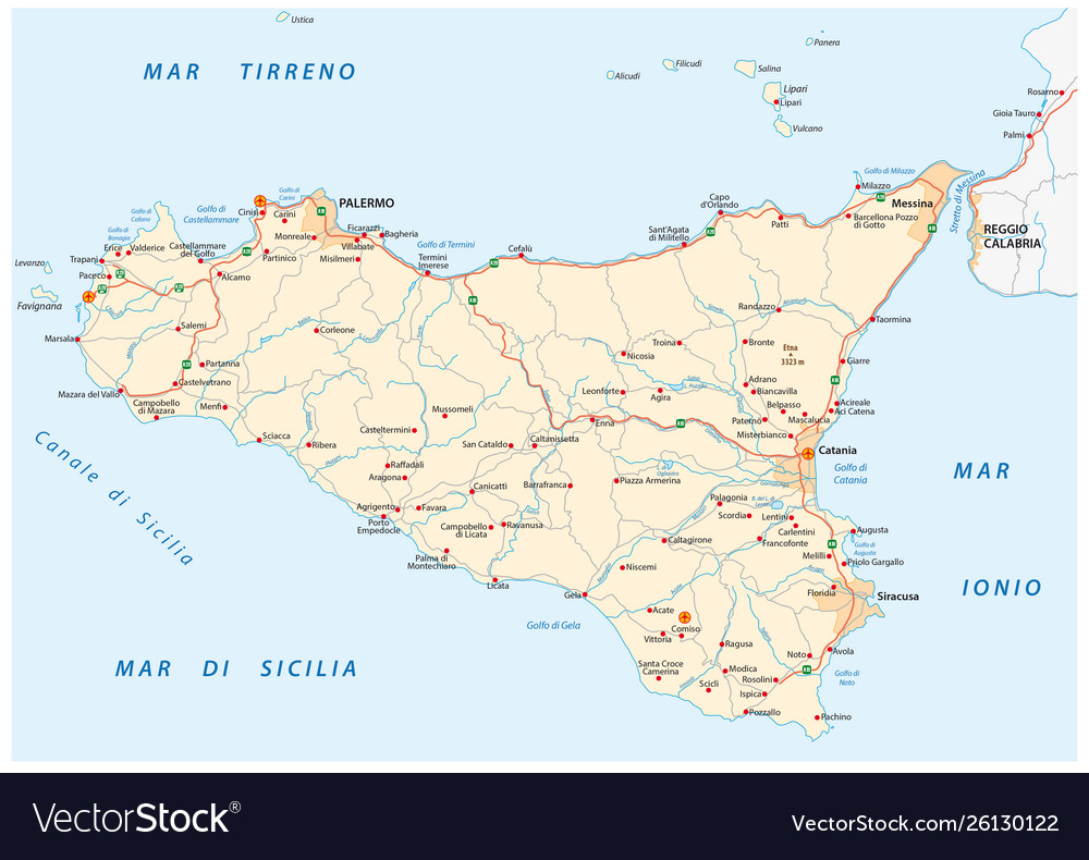Sicily On Map Of Italy.Detailed Road Map Island Sicily Italy