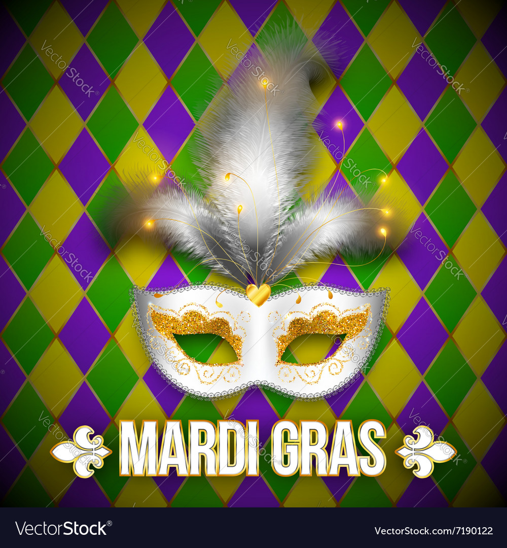 Gold and white carnival mask on colorful