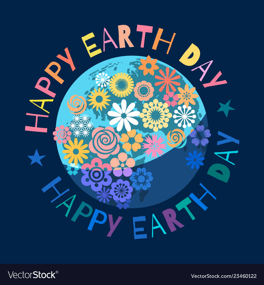 Happy earth day poster greeting text written