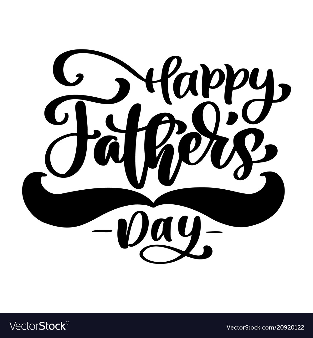 Happy fathers day phrase hand drawn lettering