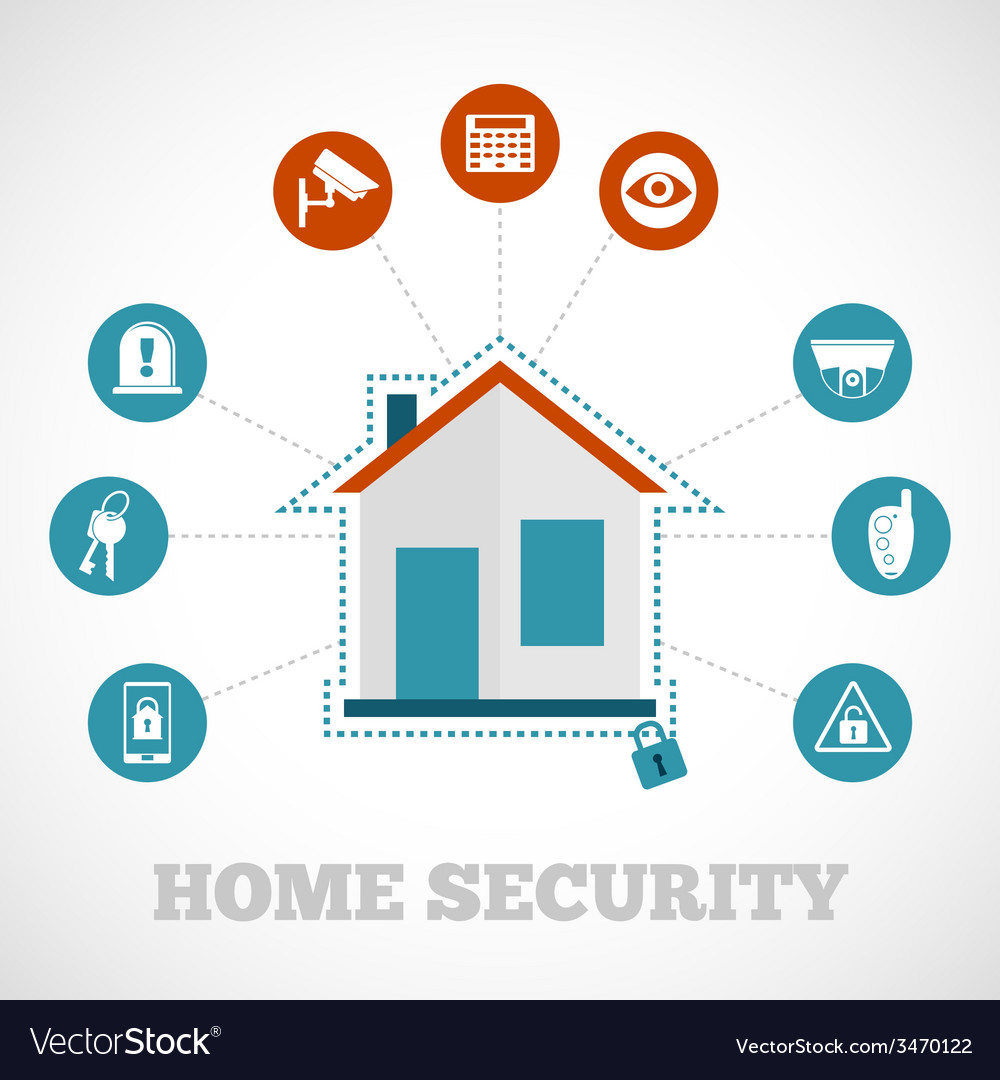 Home Security Icon Flat Royalty Free Vector Image