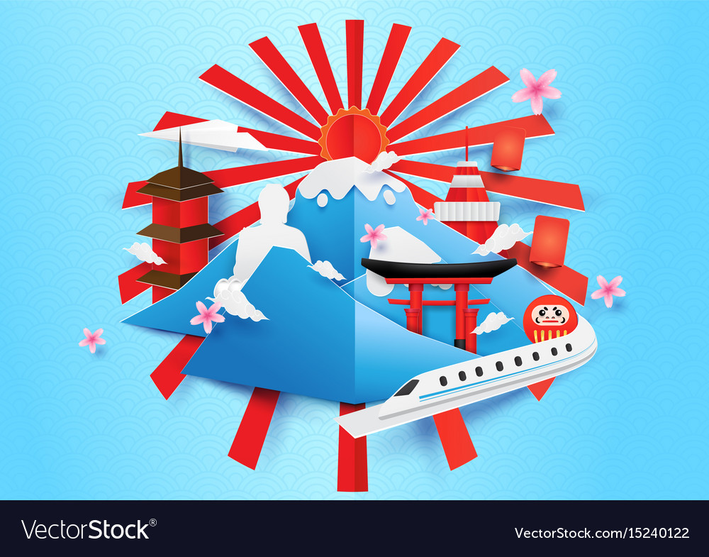 Japan travel concept background paper art style