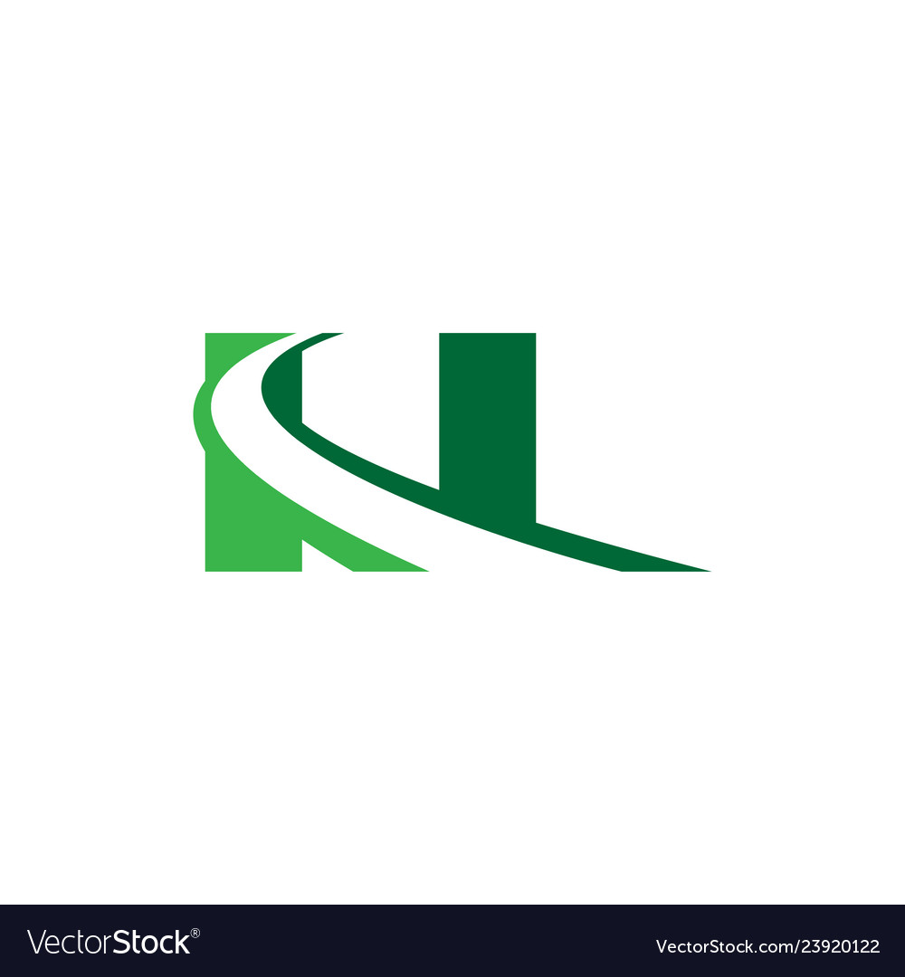 N letter road construction creative symbol layout