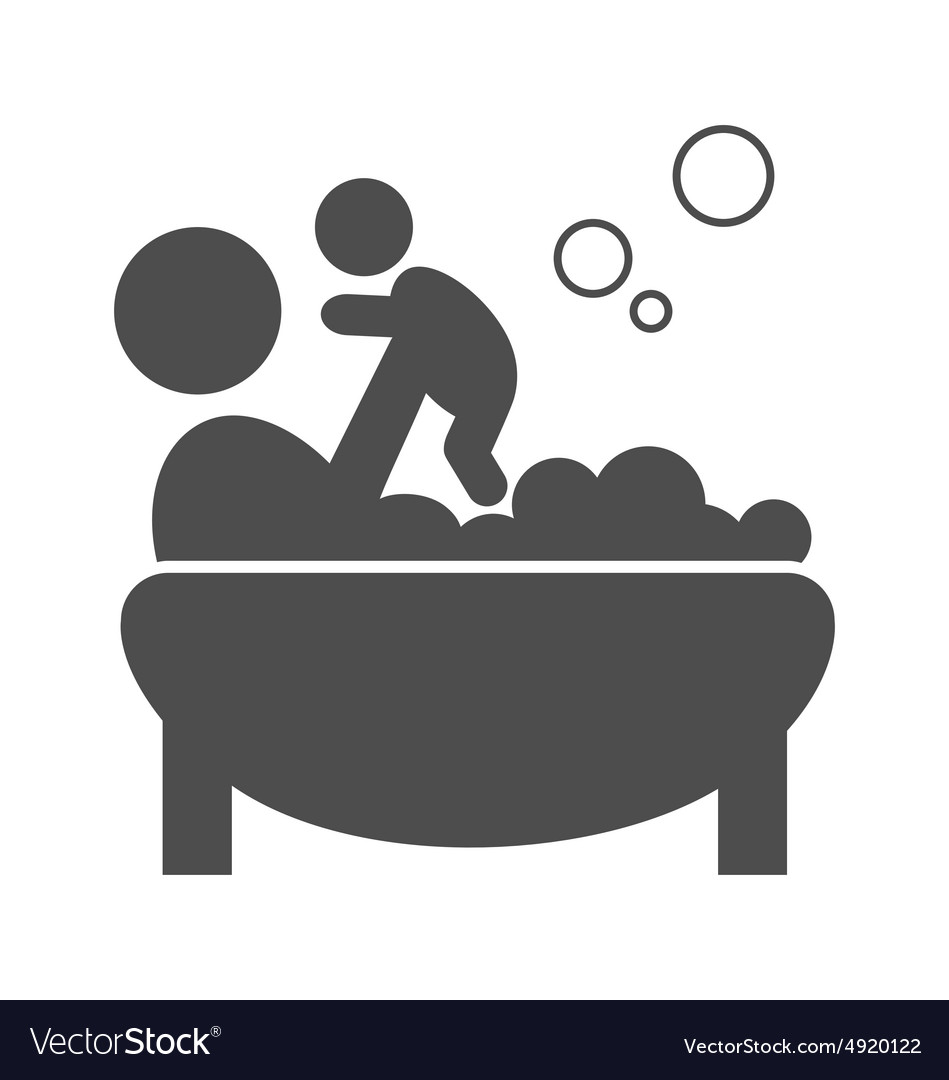 Parent takes a bath with the baby pictogram flat