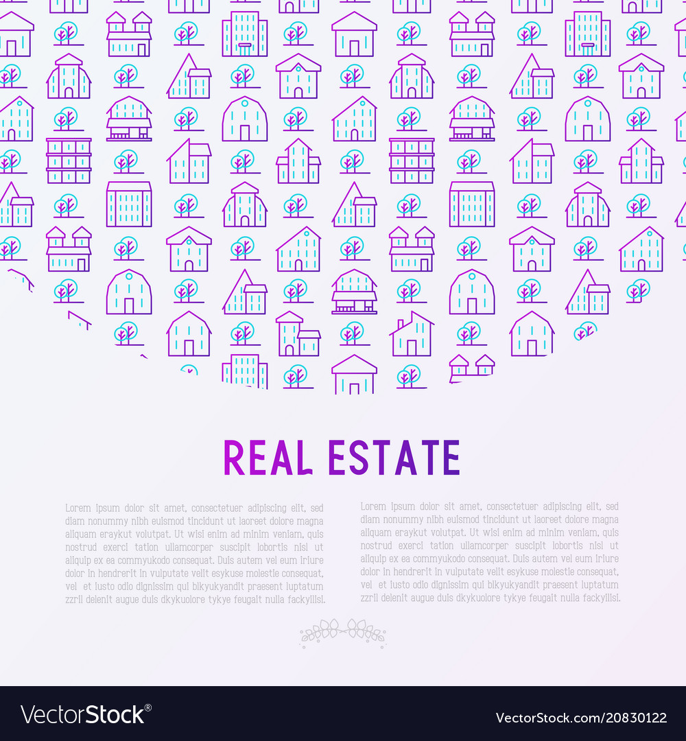 Real estate concept with thin line icons
