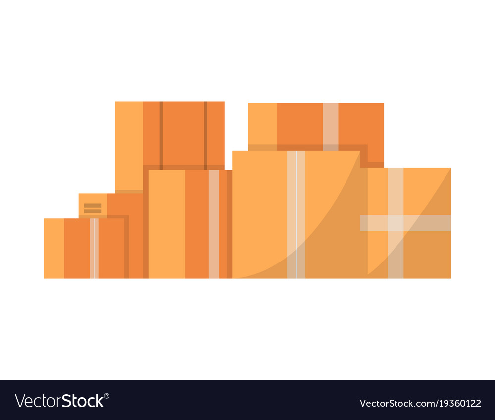 Stack of cardboard boxes isolated icon