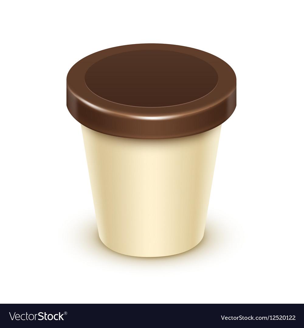 Tub Bucket For Vanilla Chocolate Dessert Yogurt
