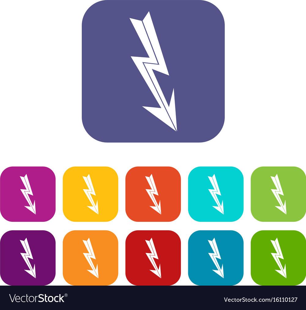 Arrow lightning icons set