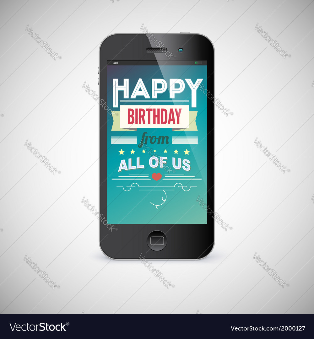 Birthday greeting card on screen of mobile phone vector image m4hsunfo