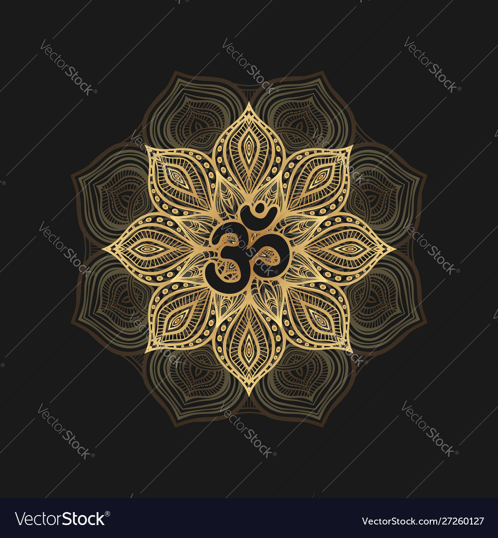 Black om symbol on golden floral pattern